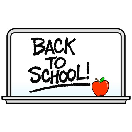Back to School Whiteboard - A vector cartoon illustration of a school Whiteboard with an Apple. Çizim