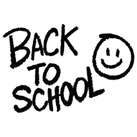Back to School Text with Smiley Face - A vector cartoon illustration of a handwritten Back to School Text and Smiley Face concept.