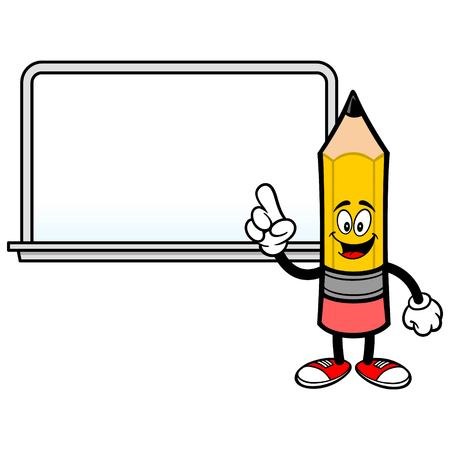 School Pencil with a Whiteboard - A vector cartoon illustration of a School Crayon with a Whiteboard.