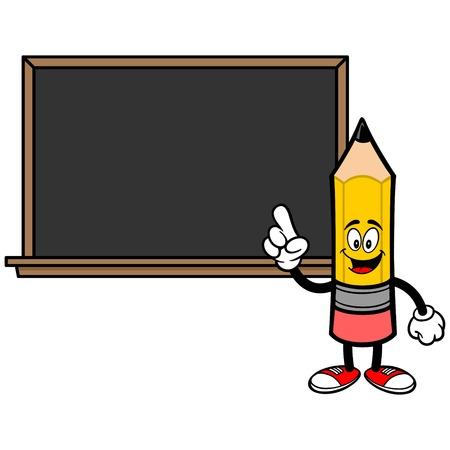 School Pencil with a Blackboard - A vector cartoon illustration of a School Pencil with a Blackboard concept. Stock Illustratie