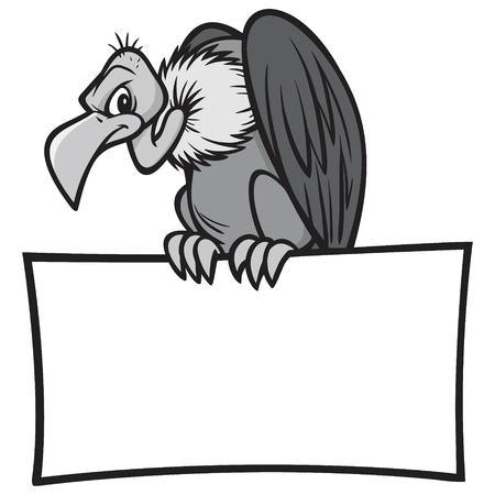 Buitre blanco y negro con signo - Una ilustración de dibujos animados de vector de un buitre sentado en un cartel en blanco.