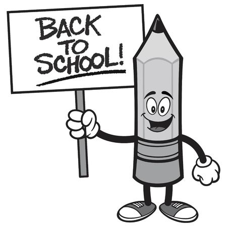 Back to School Pencil with a Sign - A vector cartoon illustration of a Pencil holding a handwritten Back to School sign. Ilustração