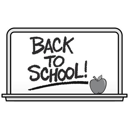 Black and White Back to School Whiteboard - A vector cartoon illustration of a school Whiteboard with an Apple. Çizim