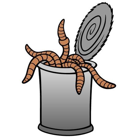 Lata de gusanos: una ilustración de dibujos animados de vector de una lata de gusanos. Ilustración de vector