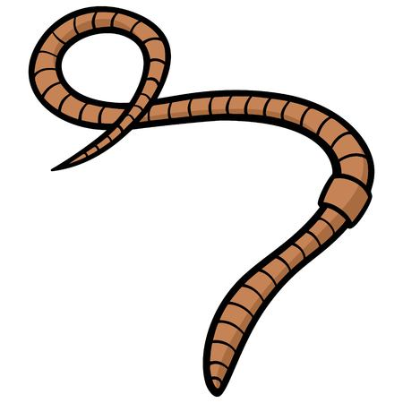 Earthworm - A vector cartoon illustration of a fishing earthworm.