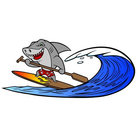 Shark Paddleboarding - A vector cartoon illustration of a Shark paddle boarding. Stok Fotoğraf - 118556619