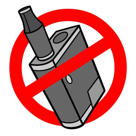 Vape Pen Micro Ban - A vector cartoon illustration of a Vape Pen ban sign.