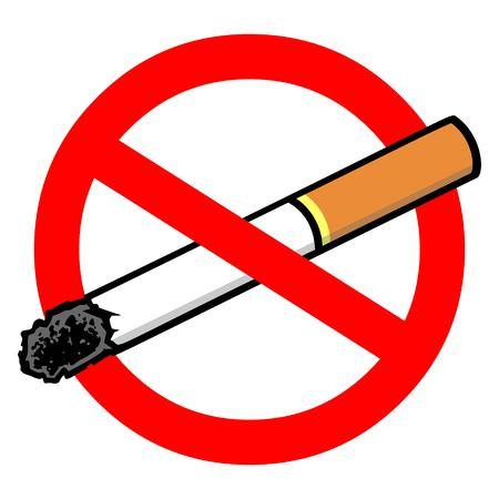 Cigarette Ban - A vector cartoon illustration of a no smoking sign.