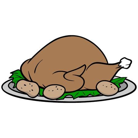 Turkey Dinner - A vector cartoon illustration of a Thanksgiving Turkey Dinner. Ilustração