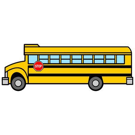 School Bus Driver Side - A vector cartoon illustration of a School Bus Driver Side.
