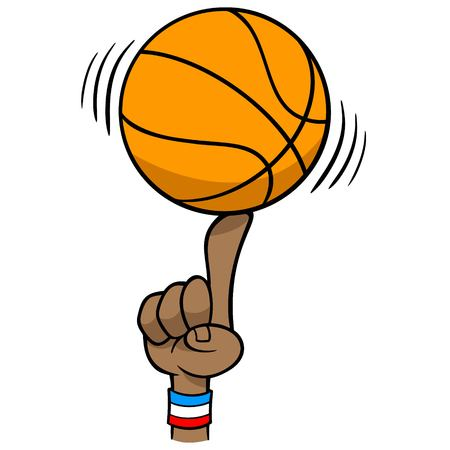Basketball Spinning on Finger - A vector cartoon illustration of a Basketball Spinning on Finger. Ilustração