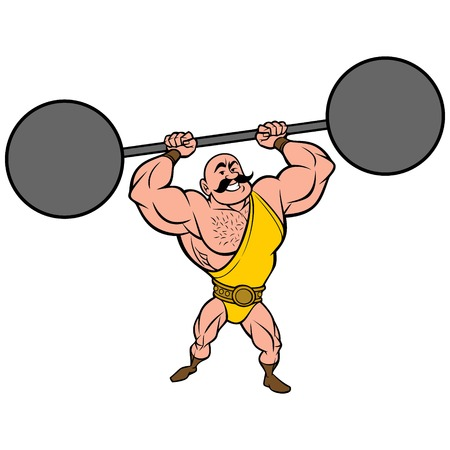 Strongman lifting Weights - A vector cartoon illustration of a strongman lifting weights. Illustration