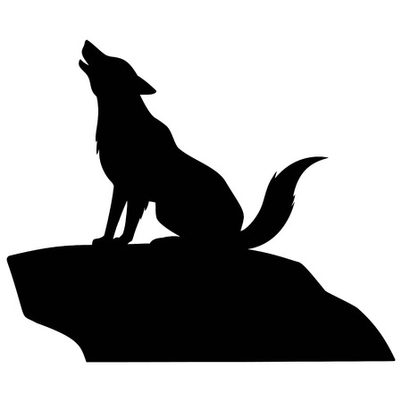 Wolf Howling on Rock - A vector cartoon illustration of a Wolf Howling on Rock. Illustration