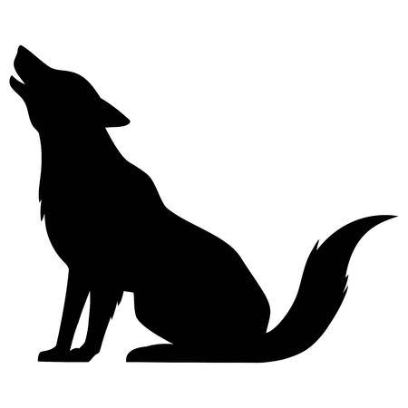 Wolf Howling Silhouette - A vector cartoon illustration of a Wolf Howling Silhouette.