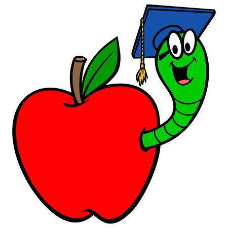 Bookworm in Apple - A vector cartoon illustration of a Bookworm in an Apple. 向量圖像