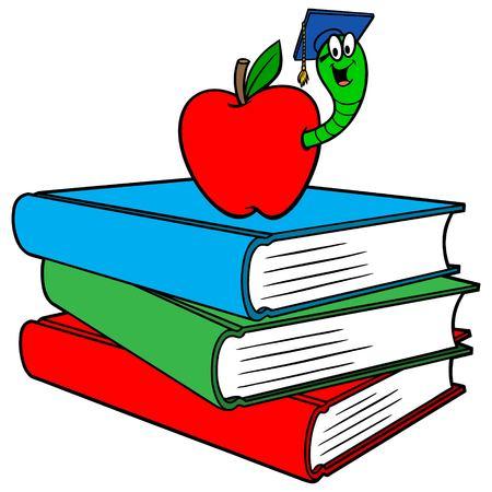 Bücherwurm und Bücher - Eine Vektor-Cartoon-Illustration eines Bücherwurms und einiger Bücher.