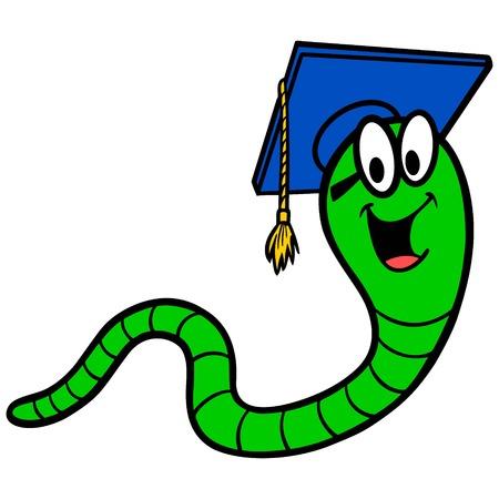 Bookworm - A vector cartoon illustration of a Bookworm mascot. 向量圖像