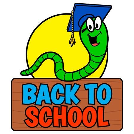 Back to School Bookworm - A vector cartoon illustration of a Back to School Bookworm sign. 向量圖像