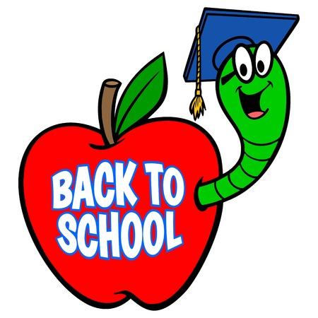 Bookworm Back to School Sign - A vector cartoon illustration of a Bookworm Back to School Sign.