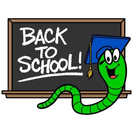 Bookworm and Blackboard - A vector cartoon illustration of a Bookworm and a blackboard.