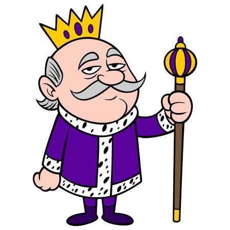 King Grumpy - A vector cartoon illustration of a grumpy King mascot. Stock Illustratie
