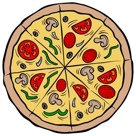 Pizza Pie - A vector cartoon illustration of a restaurant Pizza Pie. Ilustração