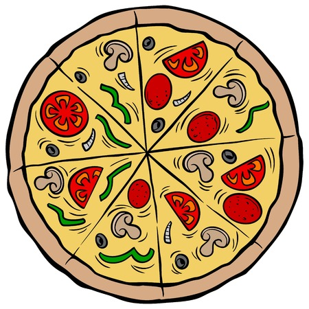 Pizza Pie - A vector cartoon illustration of a restaurant Pizza Pie. Illustration