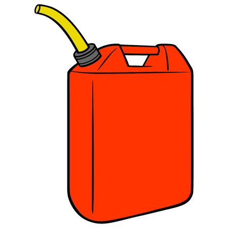 Gasoline Can Illustration - A vector cartoon illustration of a full can of Gasoline.