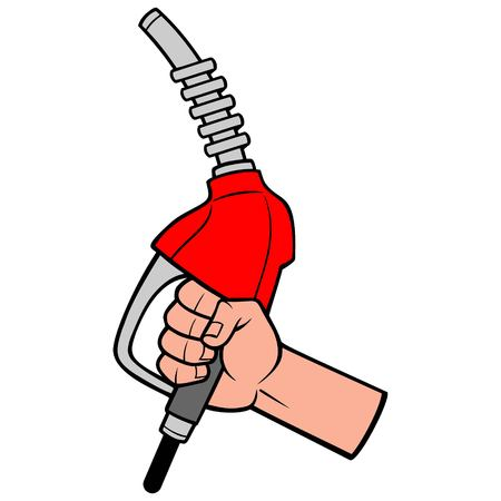 Gasoline Nozzle with Hand - A vector cartoon illustration of a hand holding a Gasoline Nozzle.