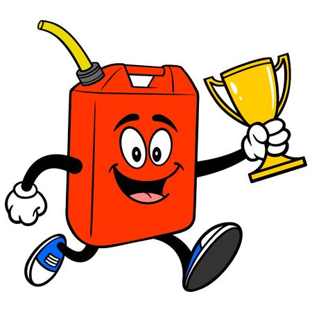 Gasoline Can Running with Trophy - A vector cartoon illustration of a fun Gasoline Can mascot running with a Trophy.  イラスト・ベクター素材