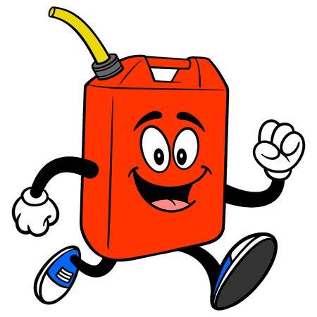 Gasoline Can Running - A vector cartoon illustration of a fun Gasoline Can mascot running.