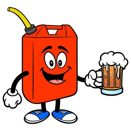 Gasoline Can with a Beer - A vector cartoon illustration of a fun Gasoline Can mascot holding a mug of Beer.  イラスト・ベクター素材