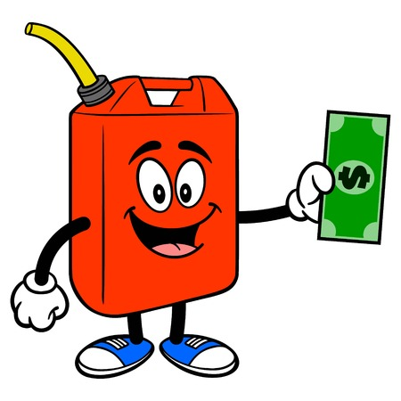 Gasoline Can with a Dollar Bill - A vector cartoon illustration of a fun Gasoline Can mascot holding a dollar bill.
