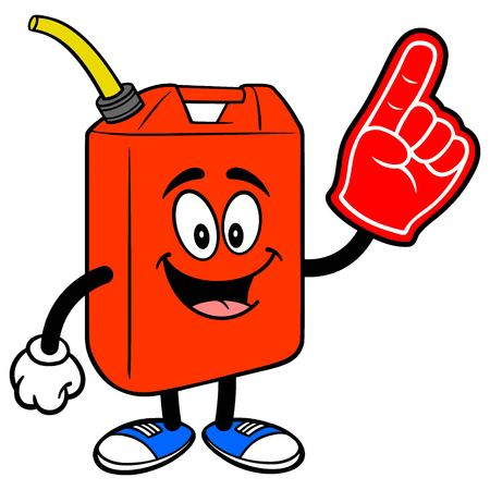 Gasoline Can with a Foam Finger - A vector cartoon illustration of a fun Gasoline Can mascot with a Foam Finger. Stok Fotoğraf - 118556822