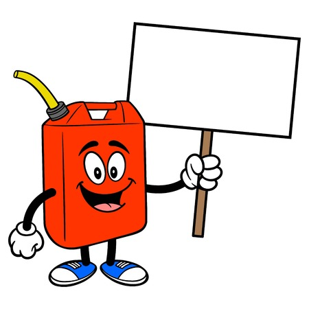 Gasoline Can with a Sign - A vector cartoon illustration of a fun Gasoline Can mascot holding a blank sign.  イラスト・ベクター素材