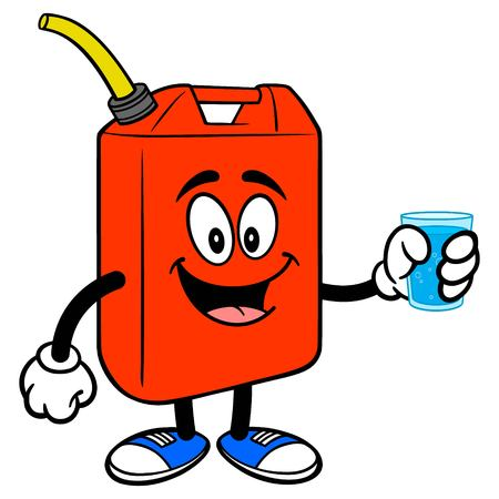 Gasoline Can with Water - A vector cartoon illustration of a Gasoline Can mascot holding a cup of Water.