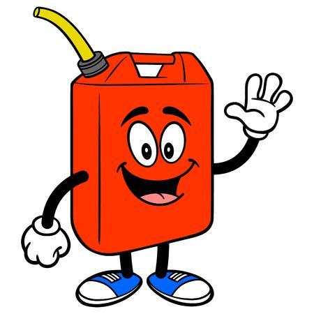 Gasoline Can Waving - A vector cartoon illustration of a Gasoline Can mascot waving his hand.  イラスト・ベクター素材
