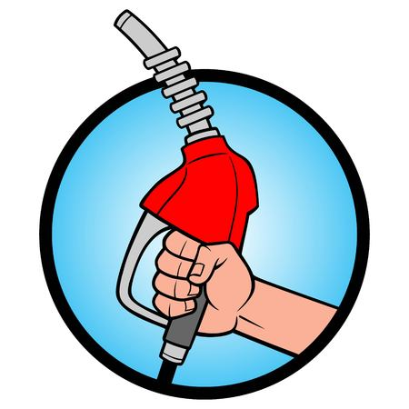 Gasoline Nozzle Icon - A vector cartoon illustration of a hand holding a Gasoline Nozzle.