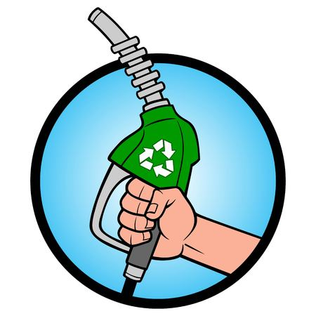 Green Energy Icon - A vector cartoon illustration of a hand holding a Green Energy fuel  Nozzle. Ilustrace