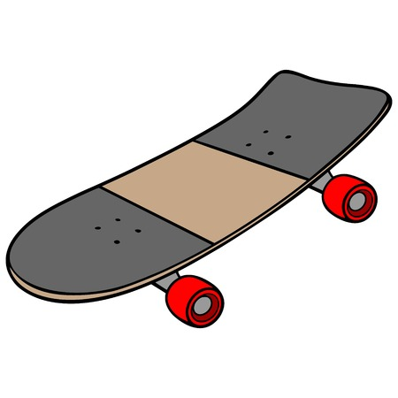 Skateboard - A vector cartoon illustration of an 80s style ramp skateboard. 일러스트