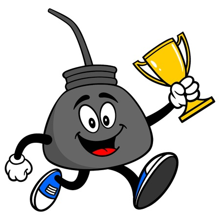 Oil Can Running with a Trophy - A vector cartoon illustration of a retro oil can mascot running with a Trophy.