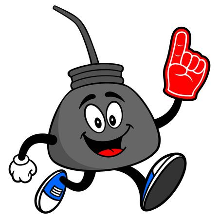 Oil Can Running with a Foam Finger - A vector cartoon illustration of a retro oil can mascot running with a foam hand. Stock Illustratie