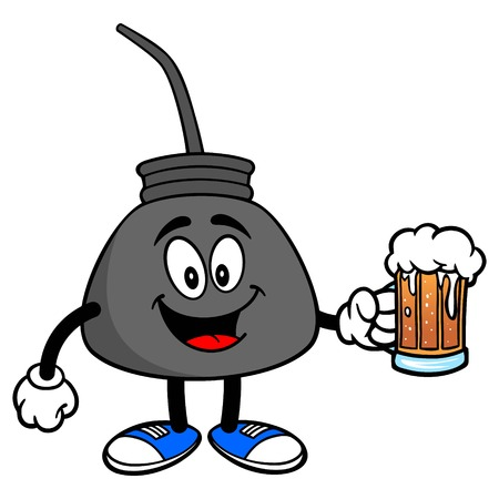 Oil Can with a Beer - A vector cartoon illustration of a retro oil can mascot with a mug of Beer.