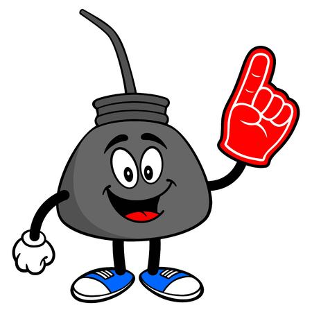 Oil Can with a Foam Finger - A vector cartoon illustration of a retro oil can mascot with a Foam Hand.