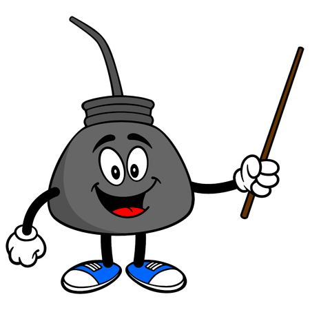 Oil Can with a Pointer - A vector cartoon illustration of a retro oil can mascot with a Pointer stick.