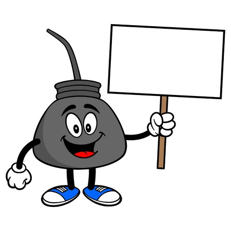 Oil Can with a Sign - A vector cartoon illustration of a retro oil can mascot holding a blank sign. Stock Illustratie