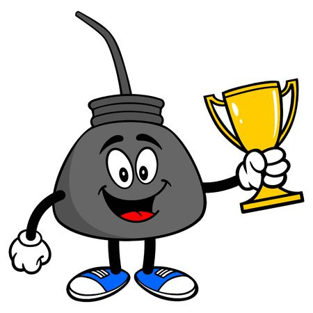 Oil Can with a Trophy - A vector cartoon illustration of a retro oil can mascot with a Trophy.