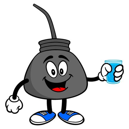 Oil Can with Water - A vector cartoon illustration of a retro oil can mascot with a cup of Water. Stock Illustratie