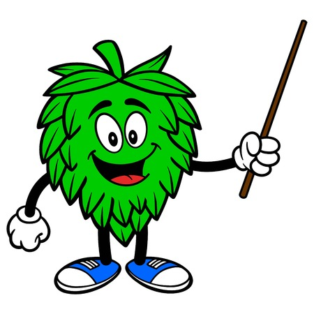 Hop Mascot with Pointer - A vector cartoon illustration of a Oktoberfest Hop mascot with a pointer.