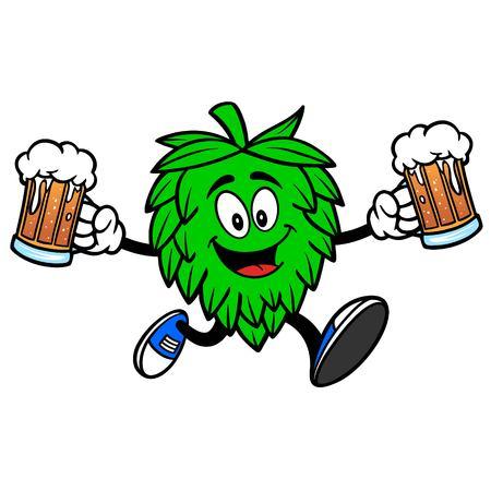 Hop Mascot running with Beers - A vector cartoon illustration of a Oktoberfest Hop mascot running with a couple of mugs of Beer.